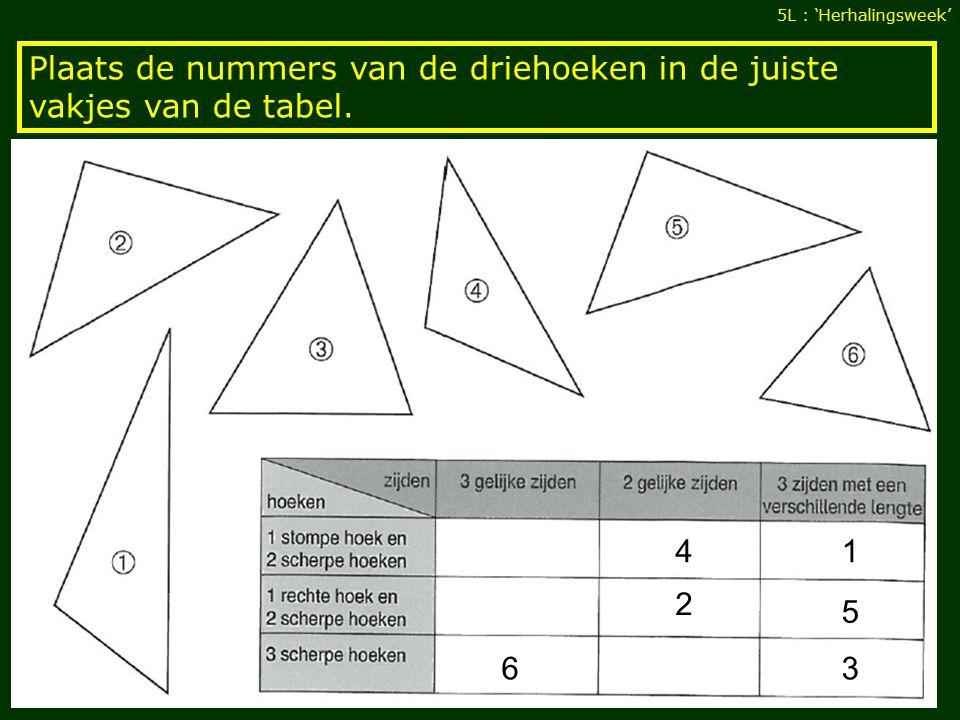 Plaats de nummers van de driehoeken in de juiste vakjes van de tabel.