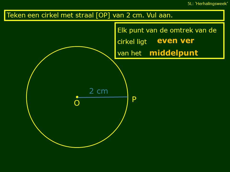 Elk punt van de omtrek van de cirkel ligt van het Teken een cirkel met straal [OP] van 2 cm.