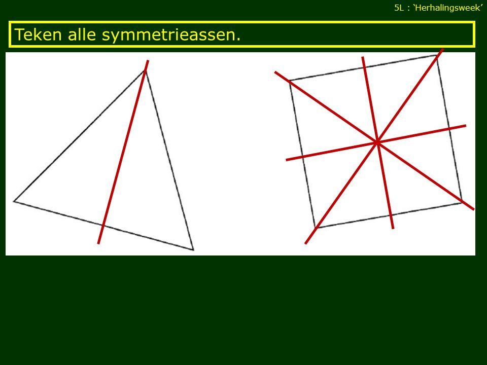 Teken alle symmetrieassen. 5L : 'Herhalingsweek'