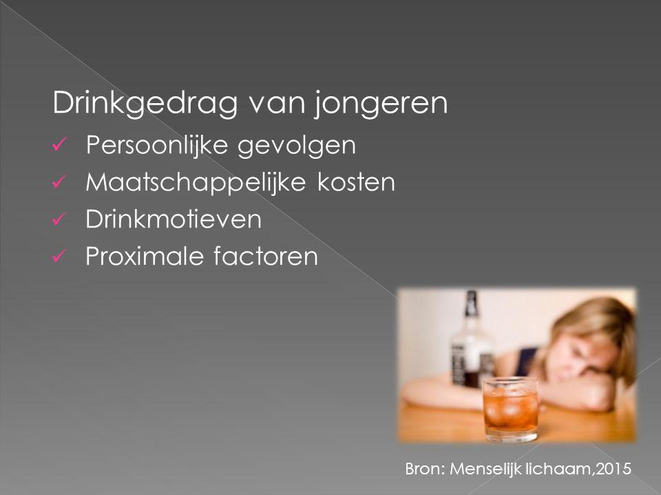 Drinkgedrag van jongeren Persoonlijke gevolgen Maatschappelijke kosten Drinkmotieven Proximale factoren Bron: Menselijk lichaam,2015