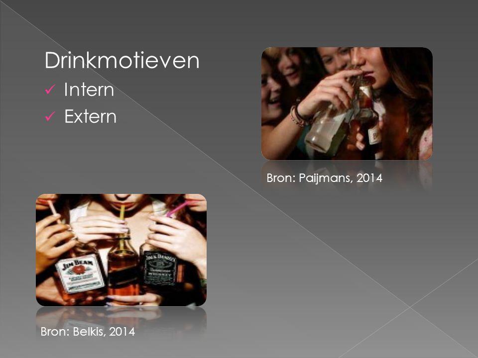 Drinkmotieven Intern Extern Bron: Paijmans, 2014 Bron: Belkis, 2014
