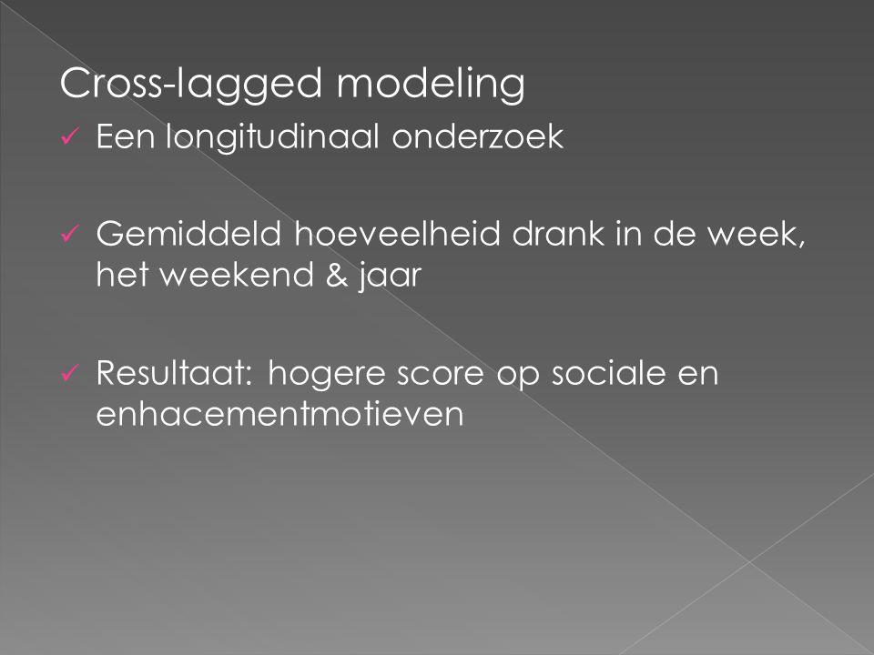 Cross-lagged modeling Een longitudinaal onderzoek Gemiddeld hoeveelheid drank in de week, het weekend & jaar Resultaat: hogere score op sociale en enhacementmotieven