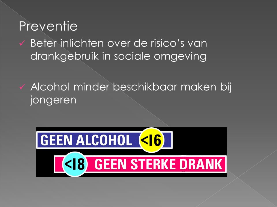 Preventie Beter inlichten over de risico's van drankgebruik in sociale omgeving Alcohol minder beschikbaar maken bij jongeren