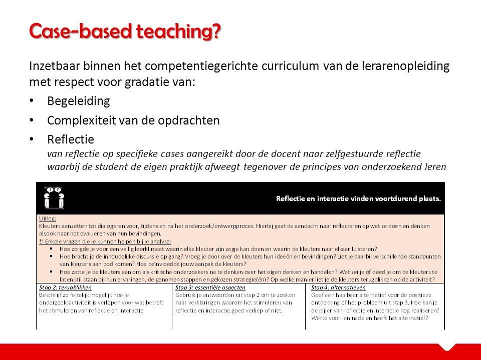 Inzetbaar binnen het competentiegerichte curriculum van de lerarenopleiding met respect voor gradatie van: Begeleiding Complexiteit van de opdrachten