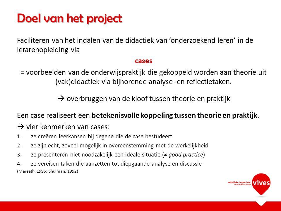 Doel van het project Faciliteren van het indalen van de didactiek van 'onderzoekend leren' in de lerarenopleiding via cases = voorbeelden van de onder