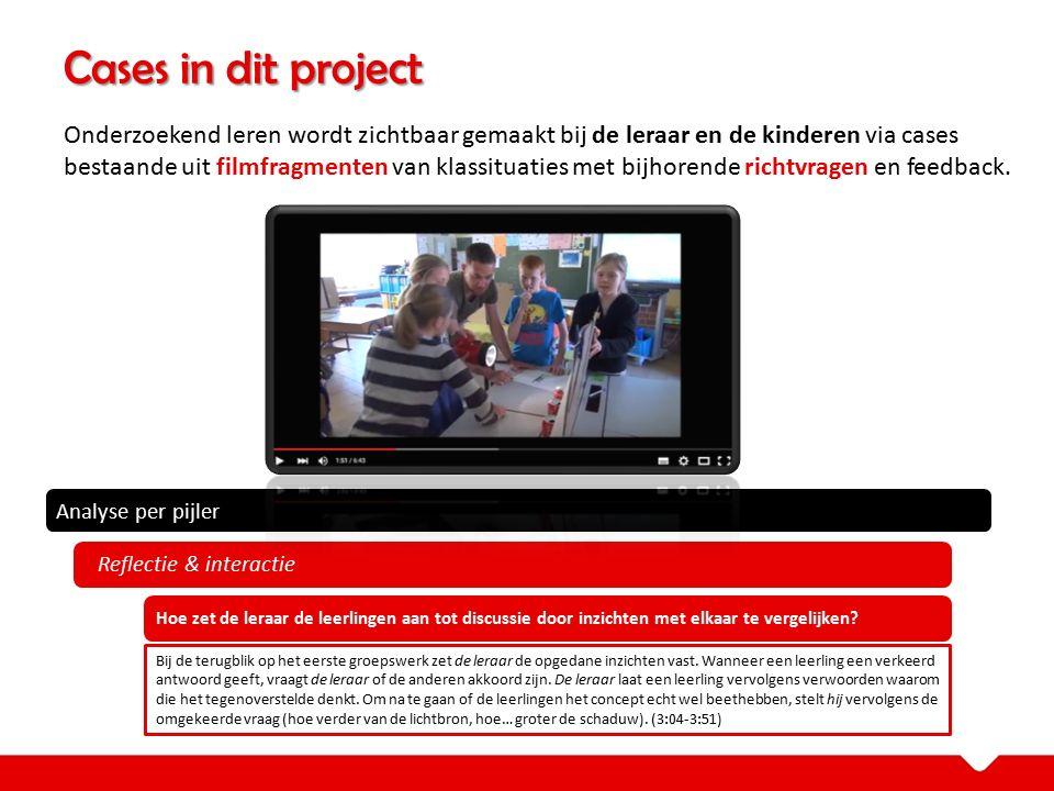 Cases in dit project Onderzoekend leren wordt zichtbaar gemaakt bij de leraar en de kinderen via cases bestaande uit filmfragmenten van klassituaties