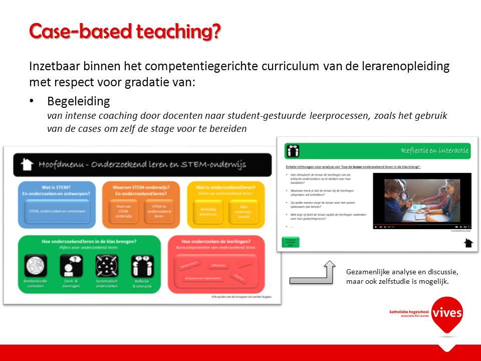 Inzetbaar binnen het competentiegerichte curriculum van de lerarenopleiding met respect voor gradatie van: Begeleiding van intense coaching door docen