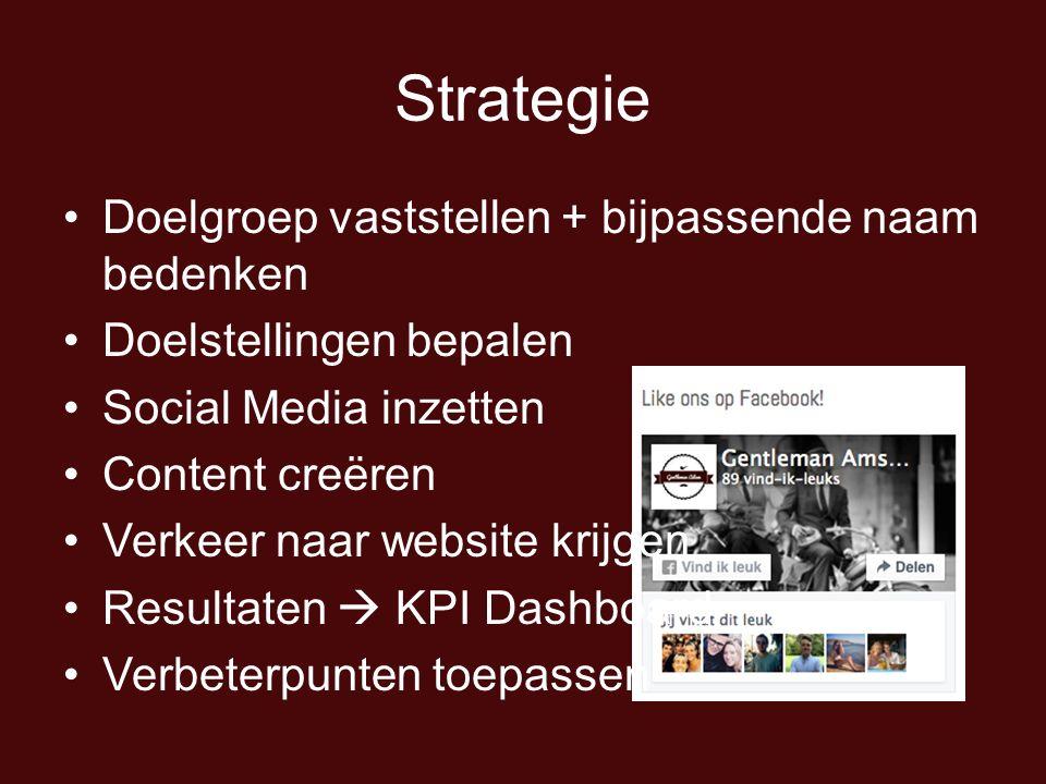 Strategie Doelgroep vaststellen + bijpassende naam bedenken Doelstellingen bepalen Social Media inzetten Content creëren Verkeer naar website krijgen