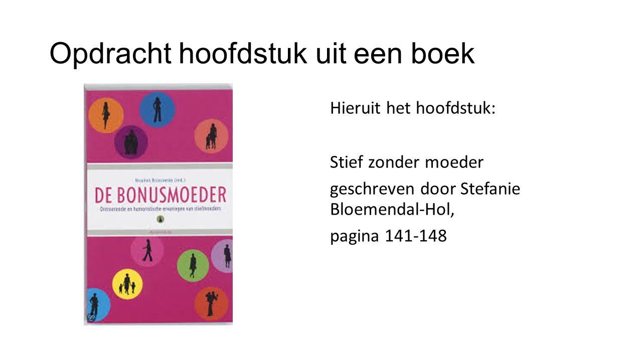 Uitwerking opdracht (Bloemendal-Hol, 2010) Bloemendal-Hol, S.