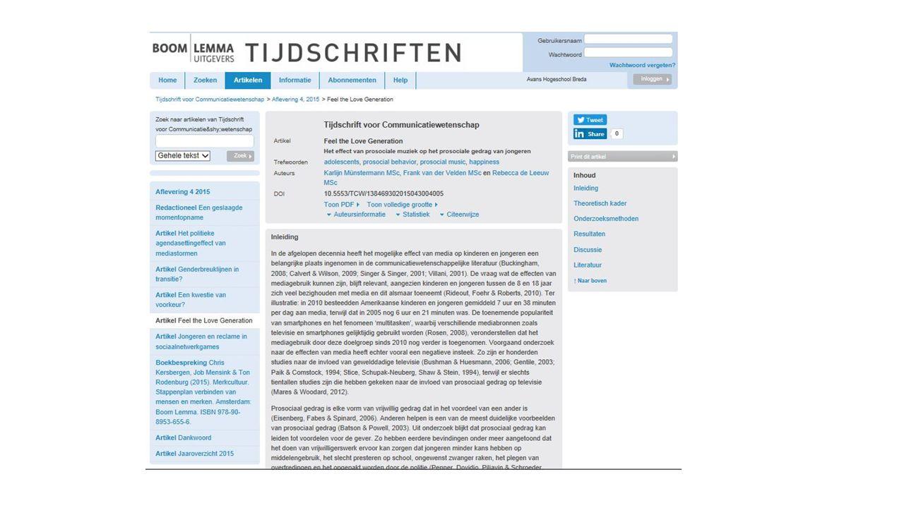 Uitwerking opdracht Tijdschriftartikel fysiek: (Hoogenboom, 2015) Hoogenboom, B.