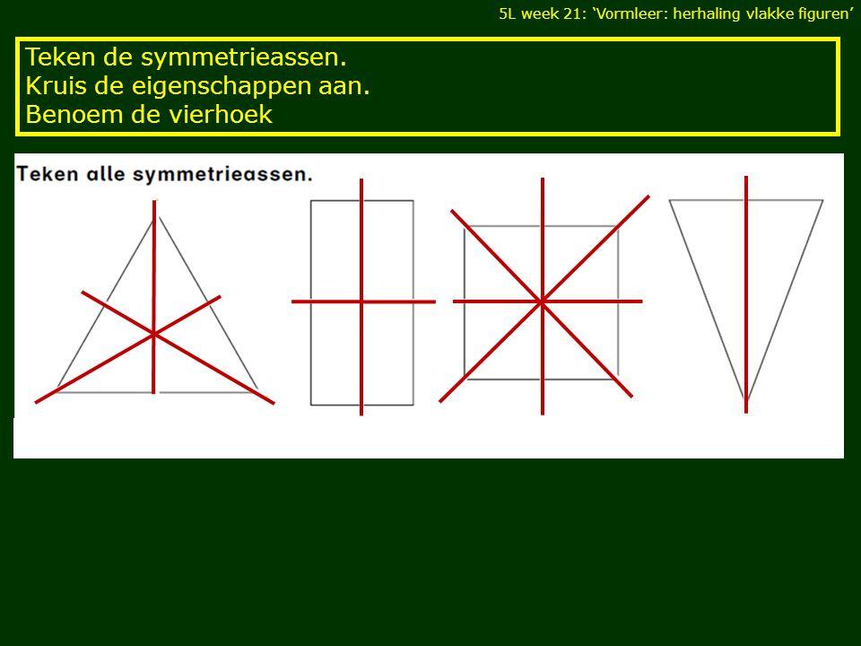 Teken de symmetrieassen. Kruis de eigenschappen aan. Benoem de vierhoek 5L week 21: 'Vormleer: herhaling vlakke figuren'