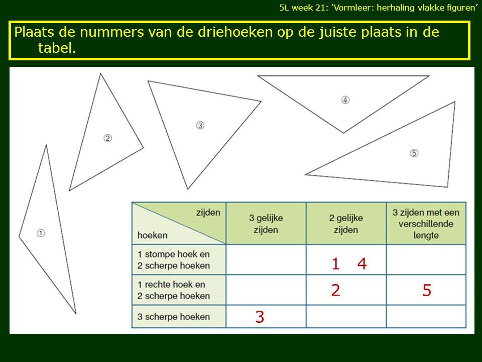 Plaats de nummers van de driehoeken op de juiste plaats in de tabel. 5L week 21: 'Vormleer: herhaling vlakke figuren' 1 2 3 4 5