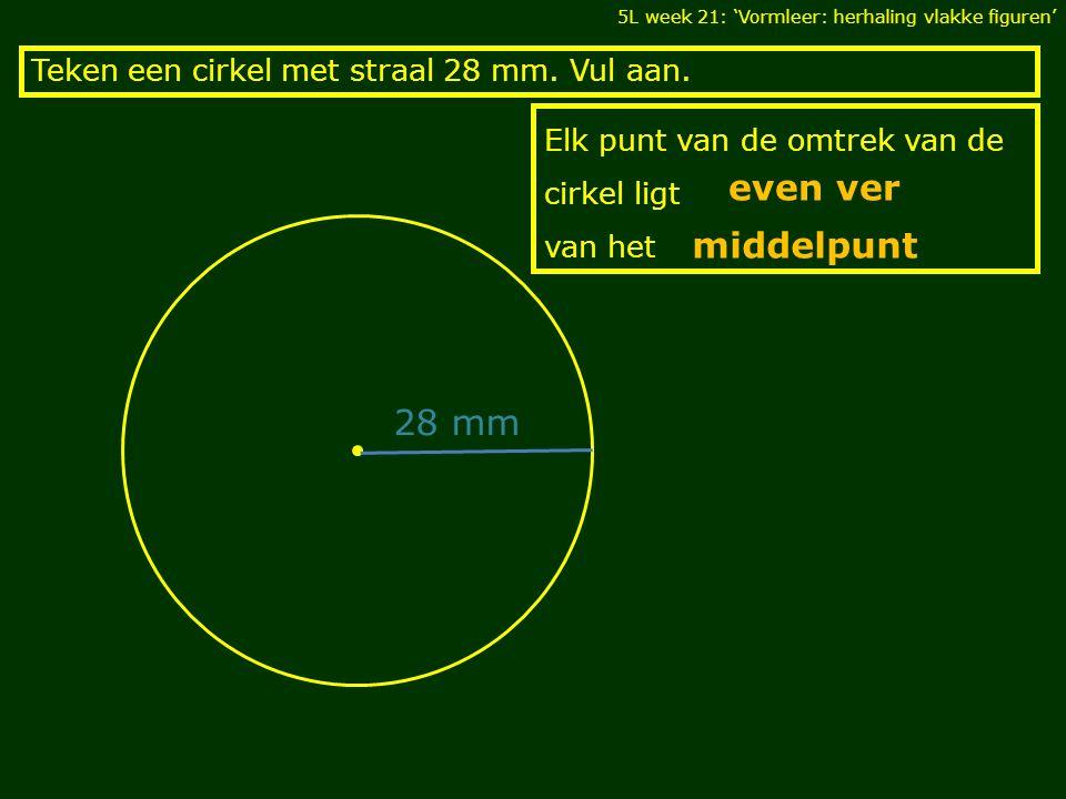Elk punt van de omtrek van de cirkel ligt van het Teken een cirkel met straal 28 mm. Vul aan. 5L week 21: 'Vormleer: herhaling vlakke figuren' even ve