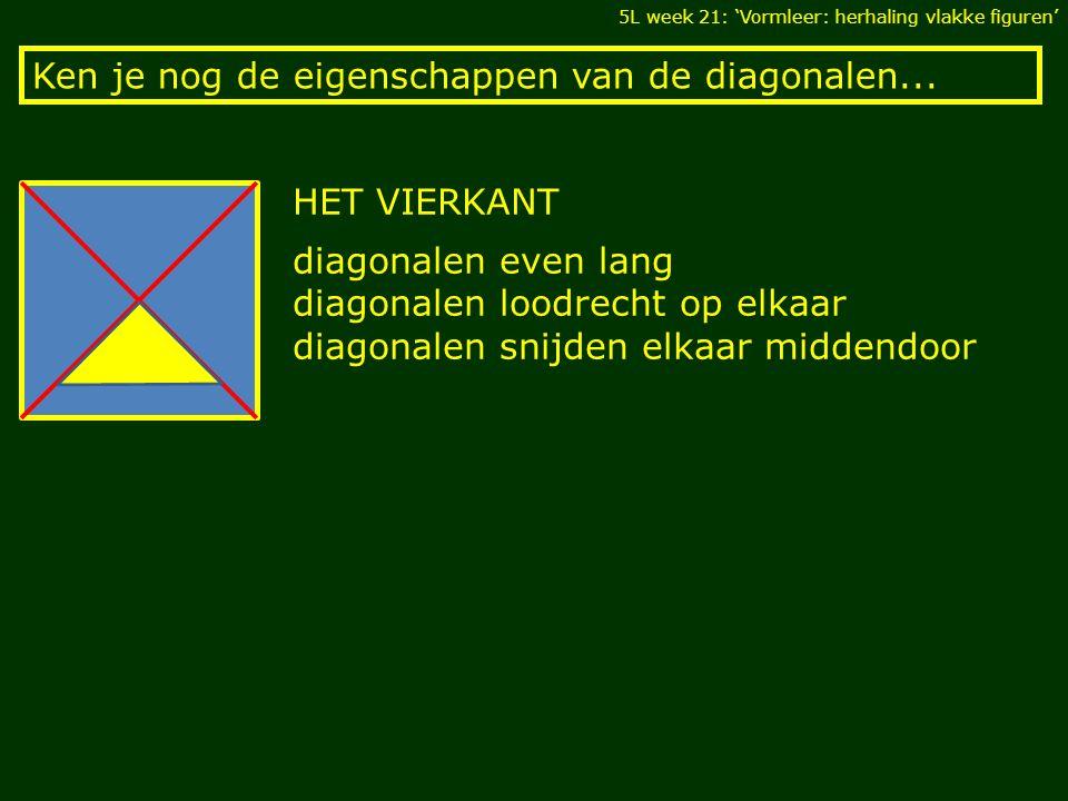 Ken je nog de eigenschappen van de diagonalen... 5L week 21: 'Vormleer: herhaling vlakke figuren' HET VIERKANT diagonalen even lang diagonalen loodrec