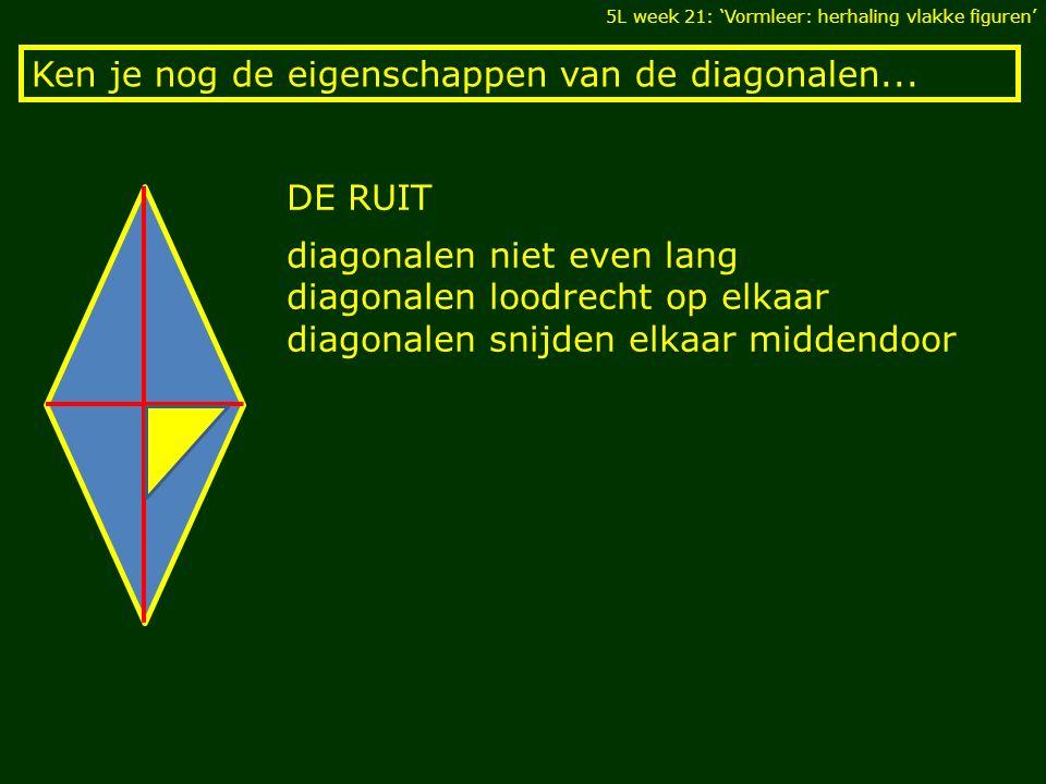 Ken je nog de eigenschappen van de diagonalen... 5L week 21: 'Vormleer: herhaling vlakke figuren' DE RUIT diagonalen niet even lang diagonalen loodrec