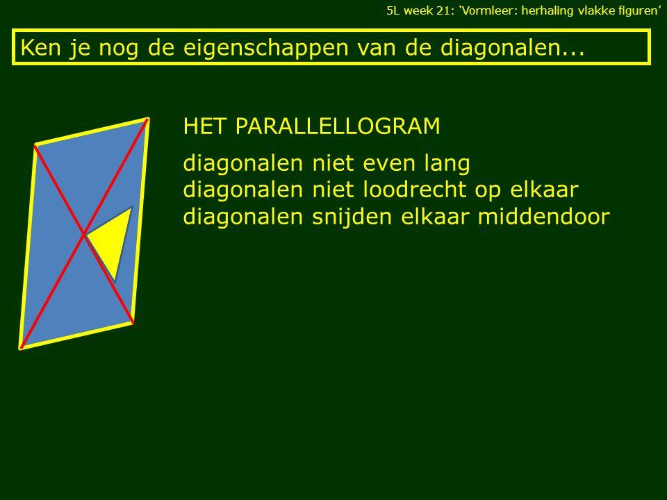 Ken je nog de eigenschappen van de diagonalen... 5L week 21: 'Vormleer: herhaling vlakke figuren' HET PARALLELLOGRAM diagonalen niet even lang diagona