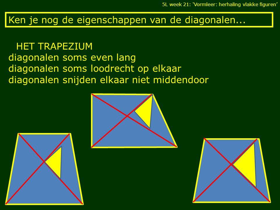 Ken je nog de eigenschappen van de diagonalen... 5L week 21: 'Vormleer: herhaling vlakke figuren' HET TRAPEZIUM diagonalen soms even lang diagonalen s