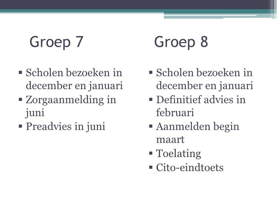 Groep 7 Groep 8  Scholen bezoeken in december en januari  Zorgaanmelding in juni  Preadvies in juni  Scholen bezoeken in december en januari  Definitief advies in februari  Aanmelden begin maart  Toelating  Cito-eindtoets