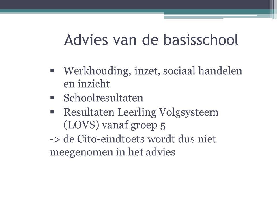 Advies van de basisschool  Werkhouding, inzet, sociaal handelen en inzicht  Schoolresultaten  Resultaten Leerling Volgsysteem (LOVS) vanaf groep 5 -> de Cito-eindtoets wordt dus niet meegenomen in het advies