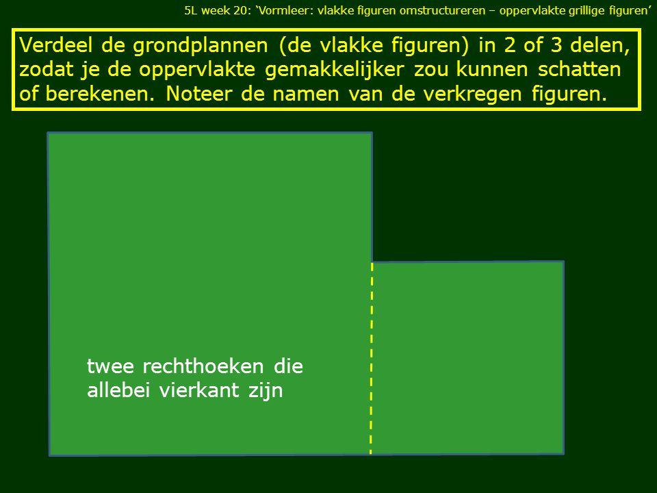 Verdeel de grondplannen (de vlakke figuren) in 2 of 3 delen, zodat je de oppervlakte gemakkelijker zou kunnen schatten of berekenen.