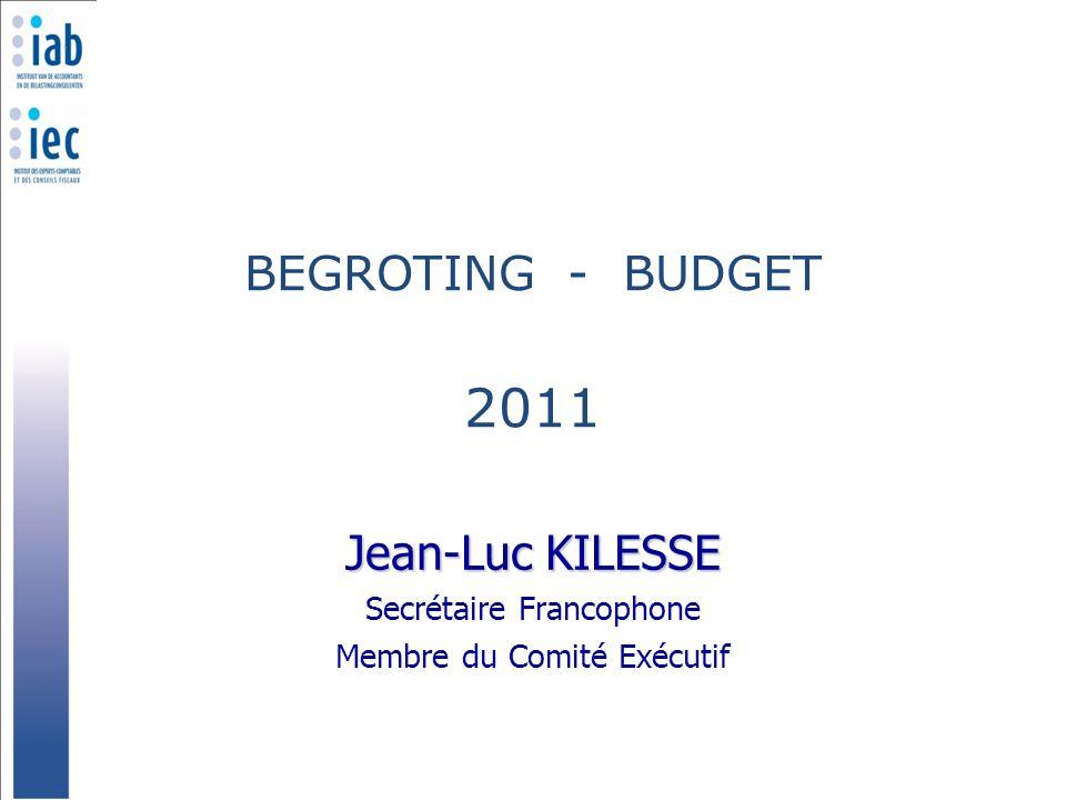 BEGROTING - BUDGET 2011 Jean-Luc KILESSE Secrétaire Francophone Membre du Comité Exécutif