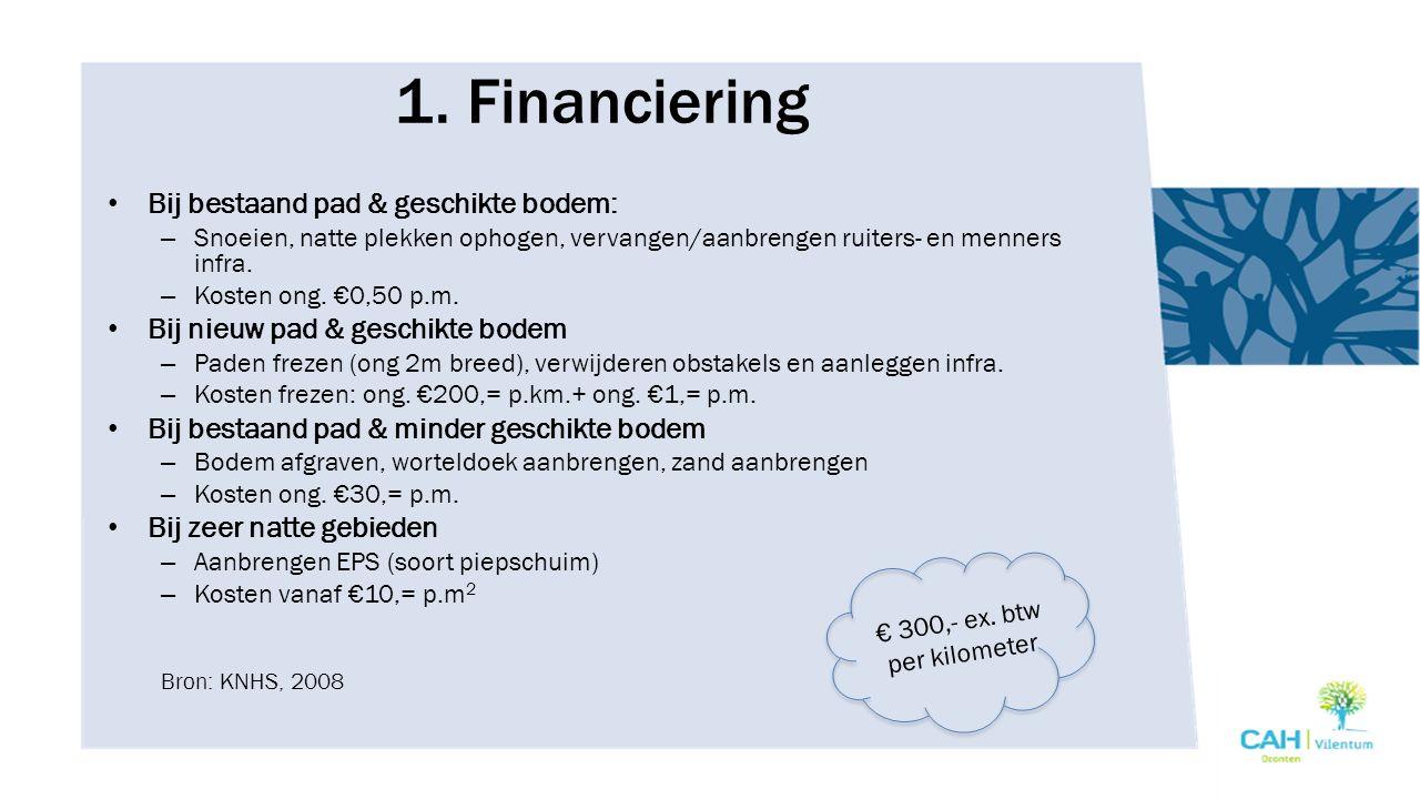 1. Financiering Bij bestaand pad & geschikte bodem: – Snoeien, natte plekken ophogen, vervangen/aanbrengen ruiters- en menners infra. – Kosten ong. €0