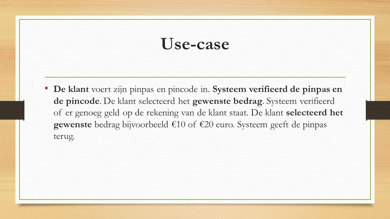 Use-case pin automaat