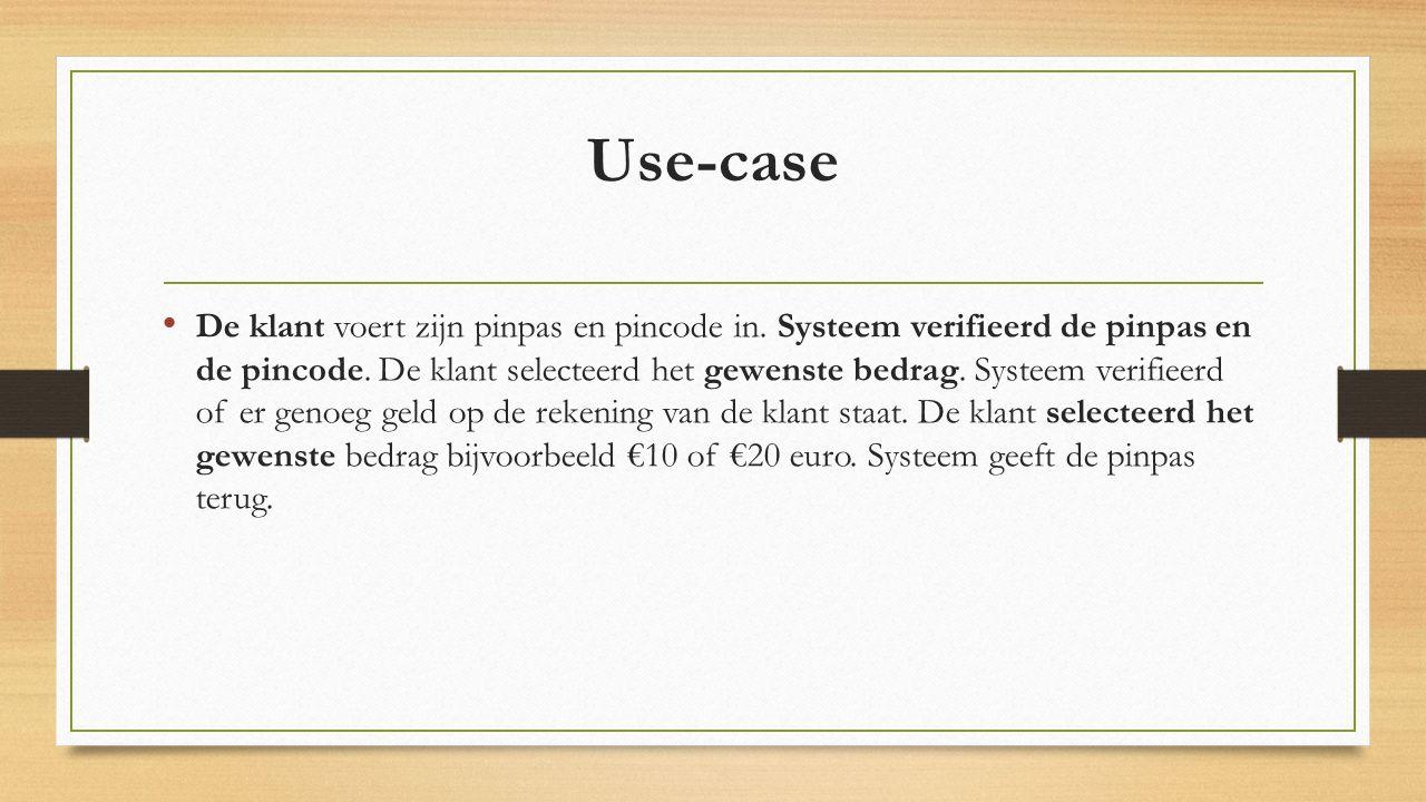 Use-case De klant voert zijn pinpas en pincode in.