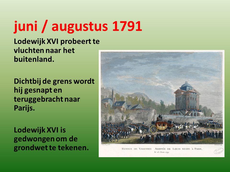 juni / augustus 1791 Lodewijk XVI probeert te vluchten naar het buitenland. Dichtbij de grens wordt hij gesnapt en teruggebracht naar Parijs. Lodewijk