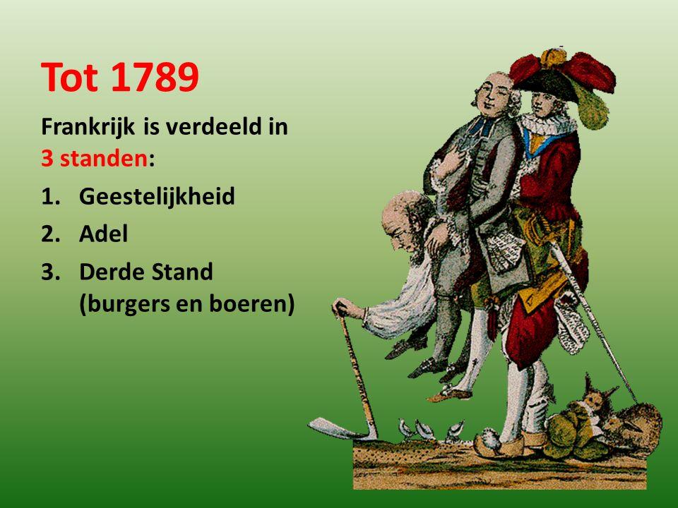 Tot 1789 Frankrijk is verdeeld in 3 standen: 1.Geestelijkheid 2.Adel 3.Derde Stand (burgers en boeren)
