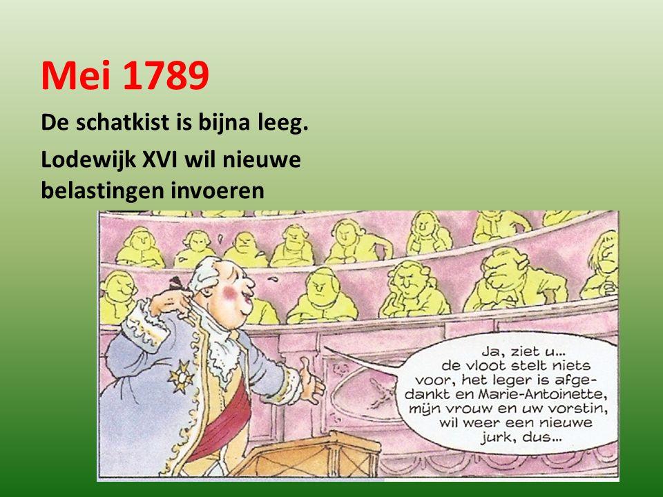 Mei 1789 De schatkist is bijna leeg. Lodewijk XVI wil nieuwe belastingen invoeren