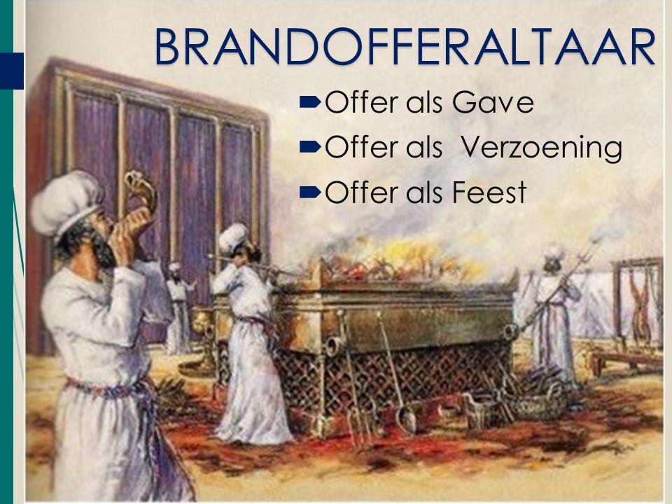  Offer als Gave  Offer als Verzoening  Offer als Feest BRANDOFFERALTAAR