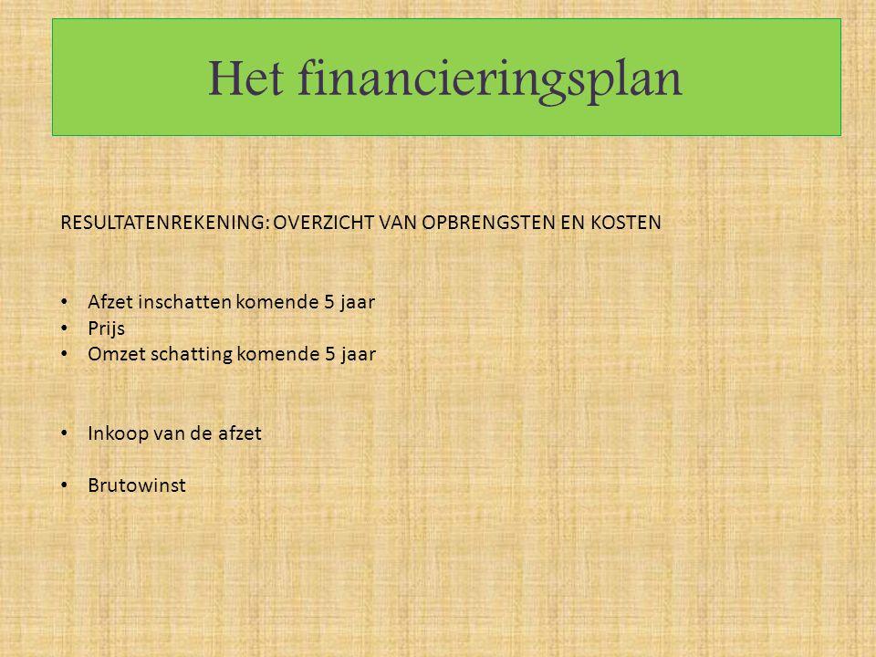 Het financieringsplan RESULTATENREKENING: OVERZICHT VAN OPBRENGSTEN EN KOSTEN Afzet inschatten komende 5 jaar Prijs Omzet schatting komende 5 jaar Ink