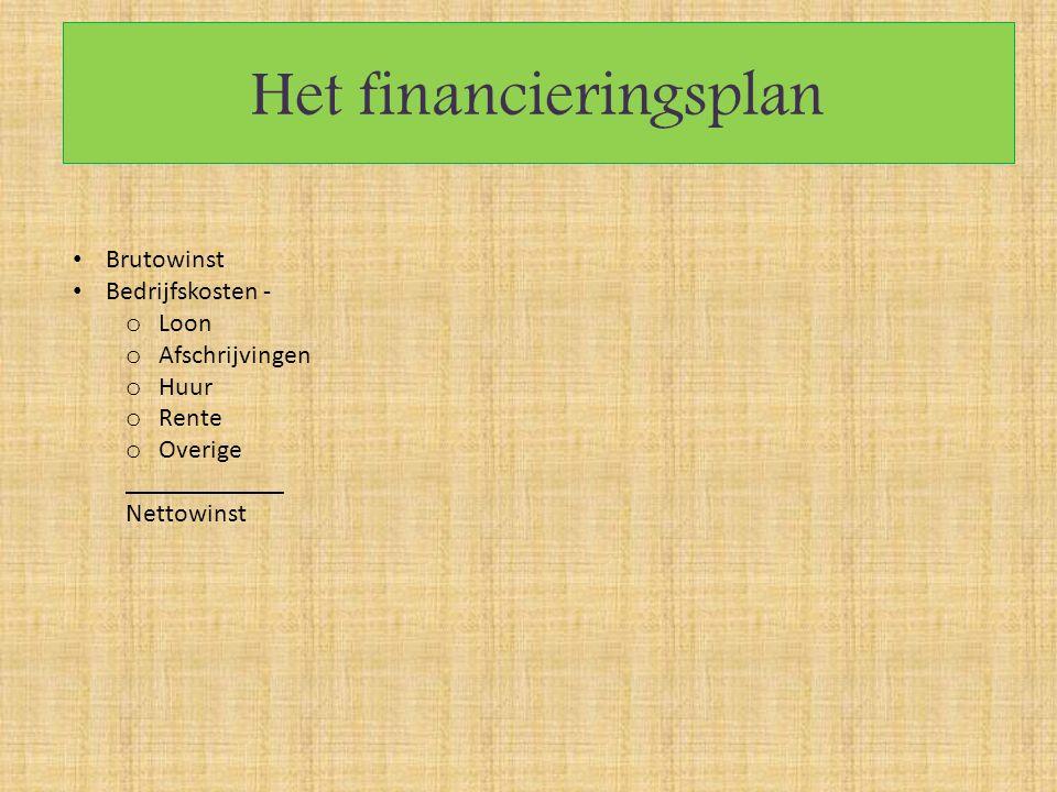 Het financieringsplan Brutowinst Bedrijfskosten - o Loon o Afschrijvingen o Huur o Rente o Overige ____________ Nettowinst