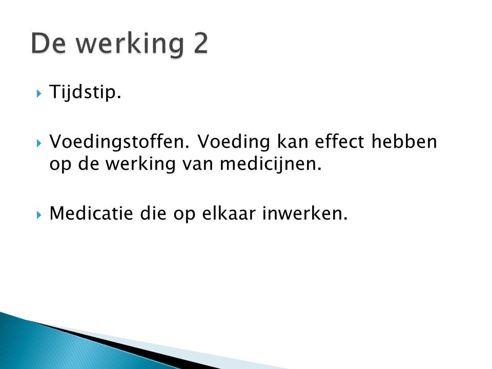  Tijdstip.  Voedingstoffen. Voeding kan effect hebben op de werking van medicijnen.  Medicatie die op elkaar inwerken.