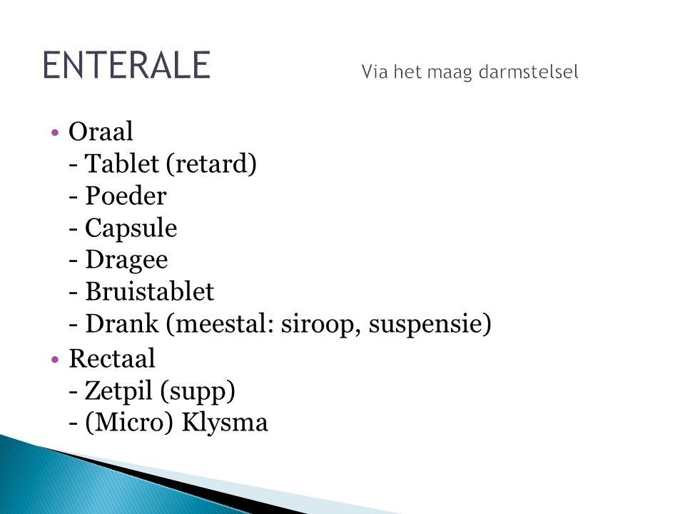 Oraal - Tablet (retard) - Poeder - Capsule - Dragee - Bruistablet - Drank (meestal: siroop, suspensie) Rectaal - Zetpil (supp) - (Micro) Klysma