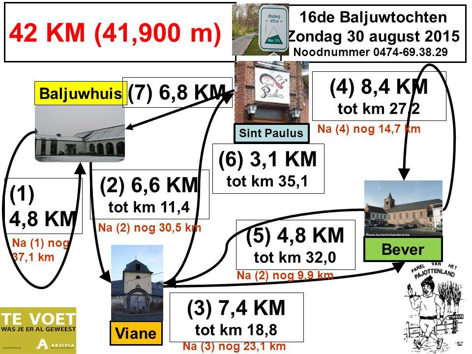 16de Baljuwtochten Zondag 30 august 2015 Noodnummer 0474-69.38.29 42 KM (41,900 m) (1) 4,8 KM Baljuwhuis (5) 4,8 KM tot km 32,0 (4) 8,4 KM tot km 27,2 Na (3) nog 23,1 km Viane Na (1) nog 37,1 km (7) 6,8 KM Bever Sint Paulus (6) 3,1 KM tot km 35,1 Na (2) nog 9,9 km (2) 6,6 KM tot km 11,4 Na (2) nog 30,5 km (3) 7,4 KM tot km 18,8 Na (4) nog 14,7 km