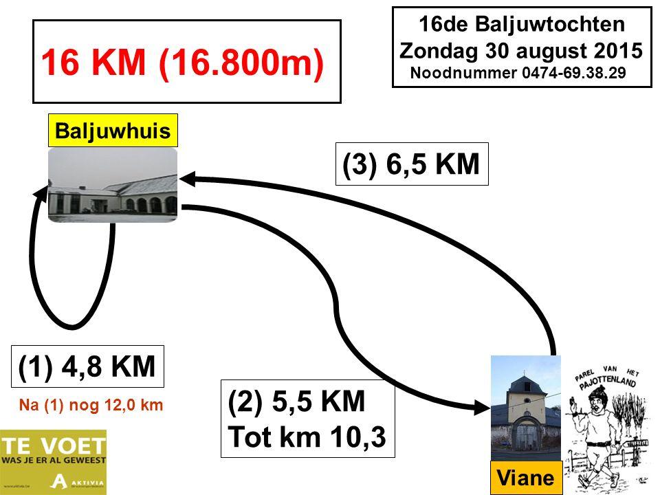 16de Baljuwtochten Zondag 30 august 2015 Noodnummer 0474-69.38.29 Na (2) nog 9,9 km 21 KM (21.300m) (2) 6,6 KM Tot km 11,4 (3) 3,1 KM tot 14,5 km Baljuwhuis (4) 6,8 KM Na (1) nog 16,5 km Viane Sint Paulus (1) 4,8 KM