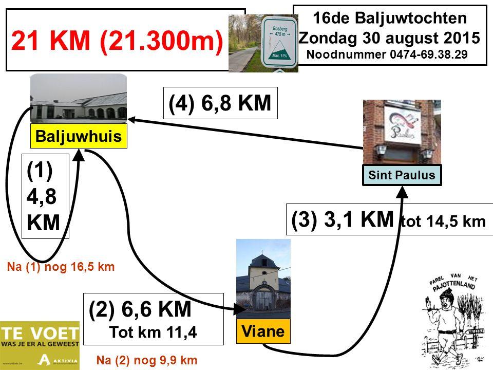 16de Baljuwtochten Zondag 30 august 2015 Noodnummer 0474-69.38.29 25 KM (26,300 m) (1) 6,6 KM Baljuwhuis (3) 4,8 KM tot km 18,8 (2) 7,4 KM tot km 14,0 Na (2) nog 12,3 km Viane Na (1) nog 19,7 km (4) 7,5 KM Bever