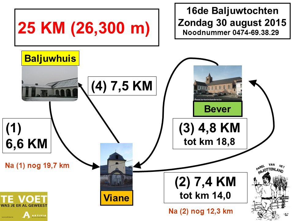 16de Baljuwtochten Zondag 30 august 2015 Noodnummer 0474-69.38.29 28 KM (28,700 m) (1) 6,6 KM Baljuwhuis (3) 4,8 KM tot km 18,8 (2) 7,4 KM tot km 14,0 Na (2) nog 14,7 km Viane Na (1) nog 22,1 km (5) 6,8 KM Bever Sint Paulus (4) 3,1 KM tot km 23,4 Na (2) nog 9,9 km