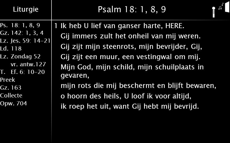 Liturgie Ps.18: 1, 8, 9 Gz.142: 1, 3, 4 Lz.Jes.59: 14-21 Ld.118 Lz.Zondag 52 vr.