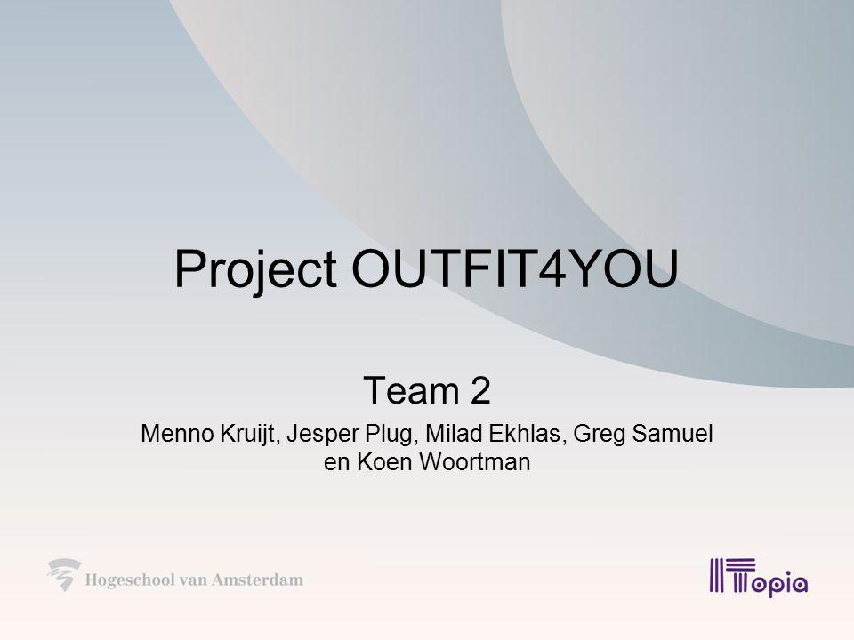 Project OUTFIT4YOU Team 2 Menno Kruijt, Jesper Plug, Milad Ekhlas, Greg Samuel en Koen Woortman