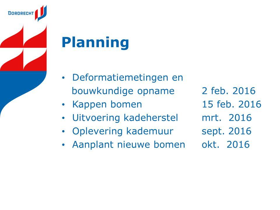 Planning Deformatiemetingen en bouwkundige opname 2 feb.