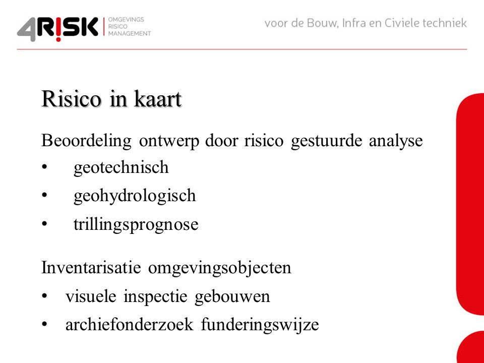 Risico in kaart Beoordeling ontwerp door risico gestuurde analyse geotechnisch geohydrologisch trillingsprognose Inventarisatie omgevingsobjecten visuele inspectie gebouwen archiefonderzoek funderingswijze