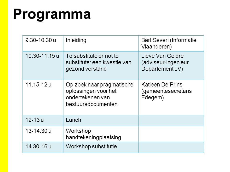 Programma 9.30-10.30 uInleidingBart Severi (Informatie Vlaanderen) 10.30-11.15 uTo substitute or not to substitute: een kwestie van gezond verstand Li