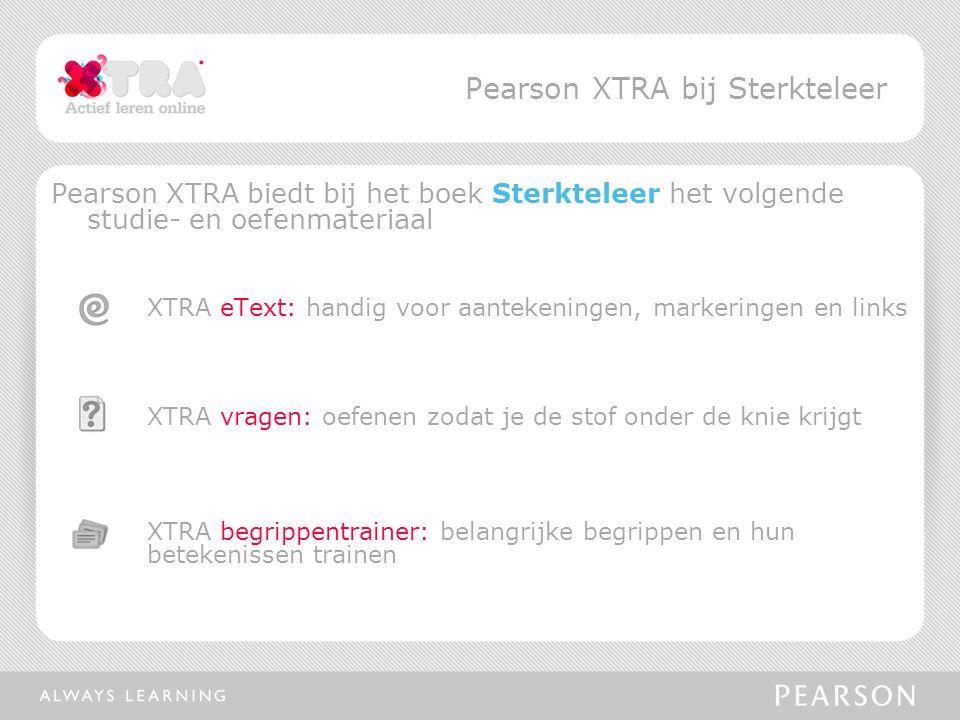 Pearson XTRA biedt bij het boek Sterkteleer het volgende studie- en oefenmateriaal XTRA eText: handig voor aantekeningen, markeringen en links XTRA vragen: oefenen zodat je de stof onder de knie krijgt XTRA begrippentrainer: belangrijke begrippen en hun betekenissen trainen Pearson XTRA bij Sterkteleer