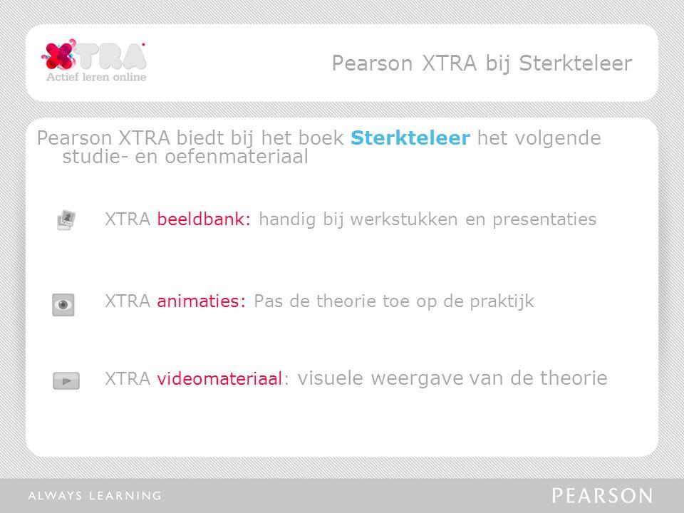 Pearson XTRA biedt bij het boek Sterkteleer het volgende studie- en oefenmateriaal XTRA beeldbank: handig bij werkstukken en presentaties XTRA animaties: Pas de theorie toe op de praktijk XTRA videomateriaal: visuele weergave van de theorie Pearson XTRA bij Sterkteleer