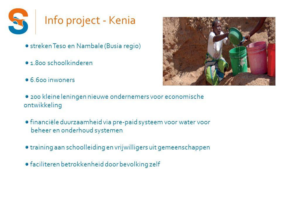 Info project - Kenia streken Teso en Nambale (Busia regio) 1.800 schoolkinderen 6.600 inwoners 200 kleine leningen nieuwe ondernemers voor economische ontwikkeling financiële duurzaamheid via pre-paid systeem voor water voor beheer en onderhoud systemen training aan schoolleiding en vrijwilligers uit gemeenschappen faciliteren betrokkenheid door bevolking zelf