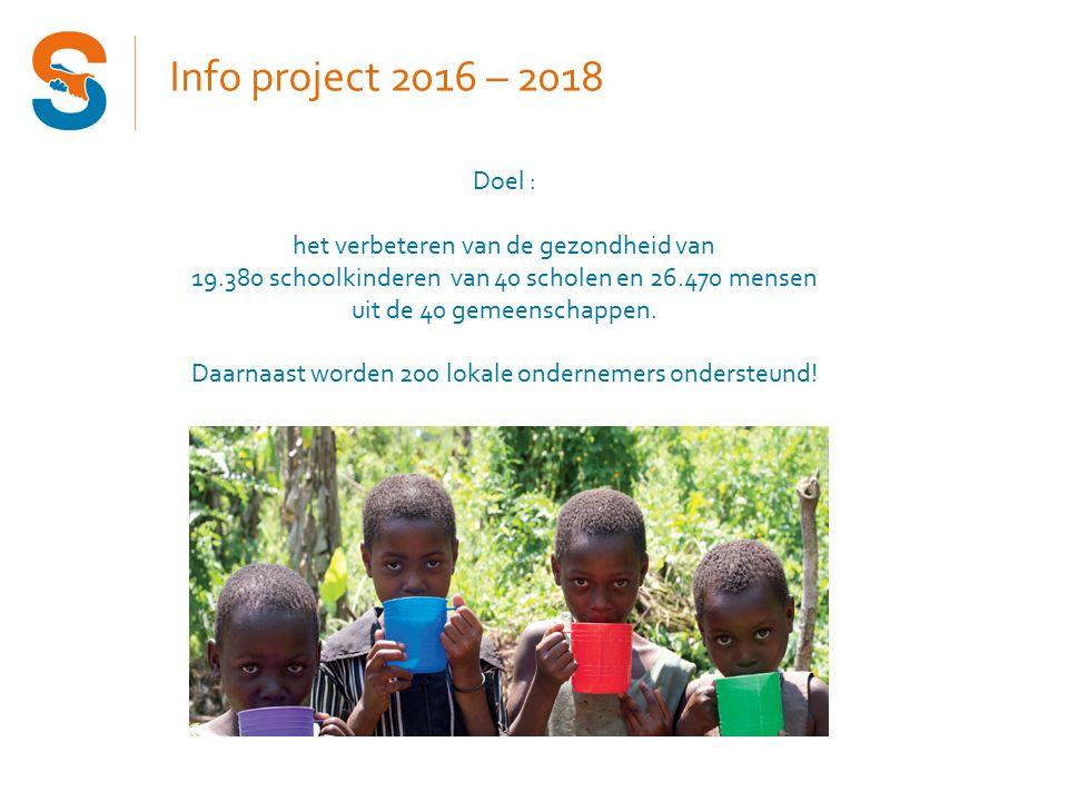 Info project 2016 – 2018 Doel : het verbeteren van de gezondheid van 19.380 schoolkinderen van 40 scholen en 26.470 mensen uit de 40 gemeenschappen.