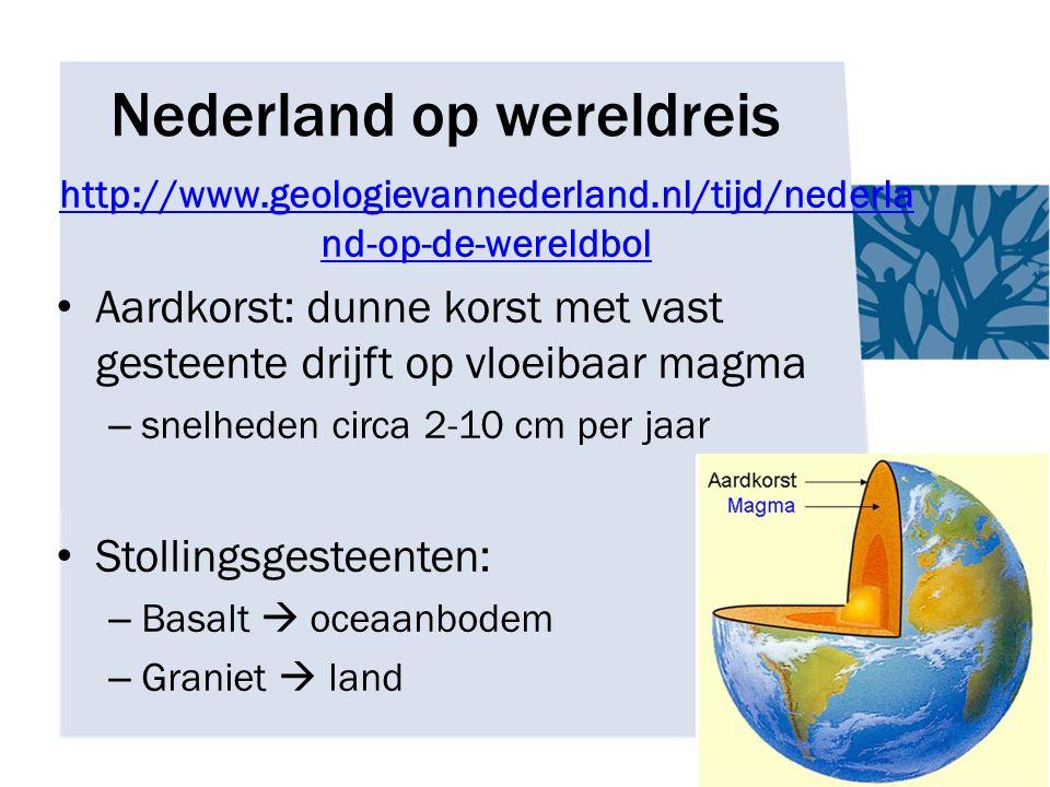 Nederland op wereldreis http://www.geologievannederland.nl/tijd/nederla nd-op-de-wereldbol Aardkorst: dunne korst met vast gesteente drijft op vloeibaar magma – snelheden circa 2-10 cm per jaar Stollingsgesteenten: – Basalt  oceaanbodem – Graniet  land